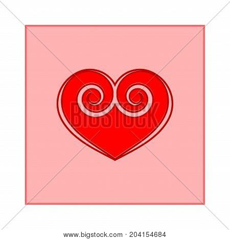 Red heart in square sign. Icon on white background. Romantic symbol linked join love passion and wedding. Template for t shirt apparel card poster of valentine day. Flat vector illustration