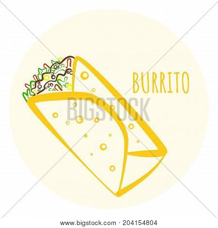 Colorful isolated outline vector burrito symbol. Minimalistic flat linear mexican burritos icon for fast food restaurant or cafe menu advertisement banners
