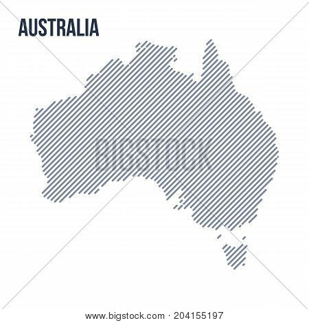 Vector Abstract Hatched Map Of Australia With Oblique Lines Isolated On A White Background.