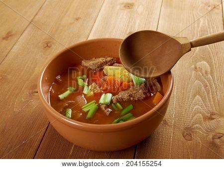 Traditional Bulgarian soup chorba.shurpa soup  , close up