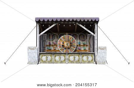 3D rendering of a carnival vintage shooting gallery isolated on white background