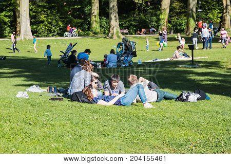 People In The Park Orange In A Sunny Day In Strasbourg In 2017