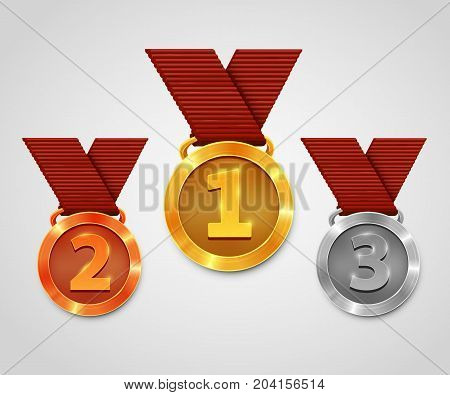 Three award medals with ribbons. Gold medal. Silver medal. Bronze medal. Championship award. Vector illustration