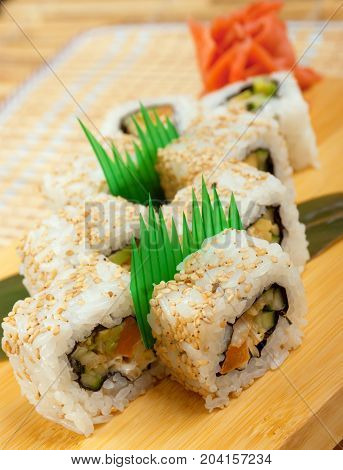 Japanese sushi . traditional japanese food   close up traditional meal