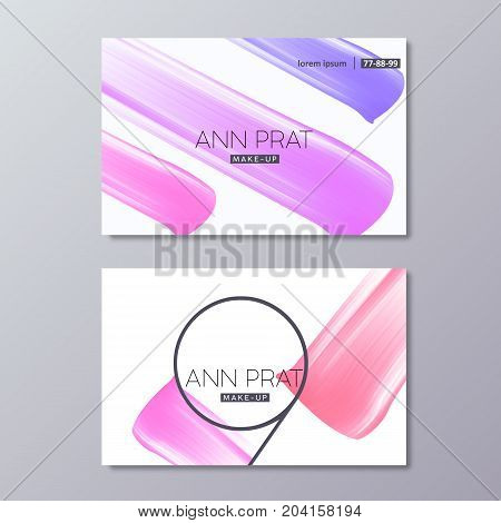 Makeup business card templates with colorful vector Abstract Smear. Lipstick Smudge isolated on white background