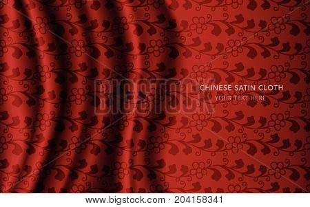 Traditional Red Chinese Silk Satin Fabric Cloth Background Spiral Vine Flower Leaf