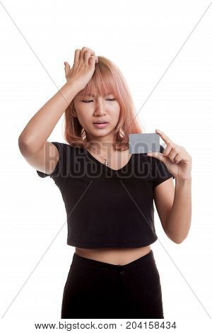 Young Asian Woman Headache With A Blank Card.