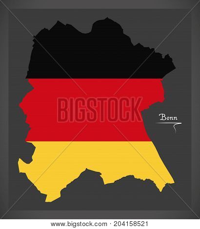 Bonn Map With German National Flag Illustration