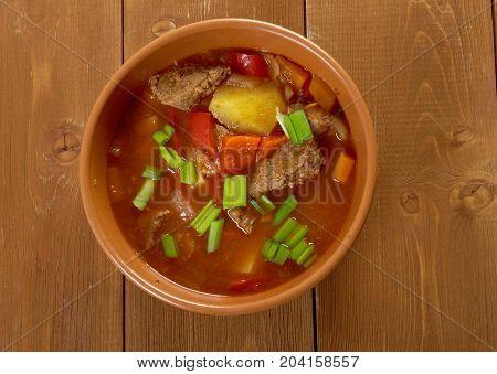Traditional Bulgarian soup chorba.shurpa soup Close up meal studio