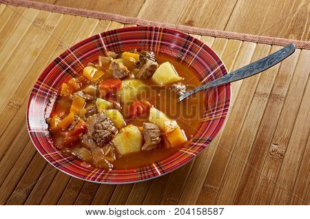 Traditional Bulgarian soup chorba.shurpa soup Studio  close up meal