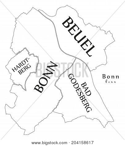 Modern City Map - Bonn City Of Germany With Boroughs And Titles De Outline Map