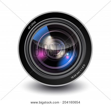 Vector illustration of realistic camera lens isolated on white background with shadow, photo lens closeup
