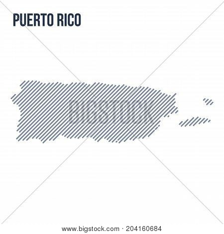 Vector Abstract Hatched Map Of Puerto Rico With Oblique Lines Isolated On A White Background.