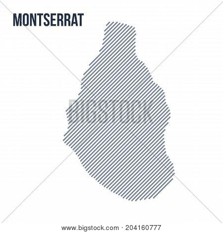 Vector Abstract Hatched Map Of Montserrat With Oblique Lines Isolated On A White Background.