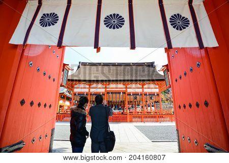 Kyoto, Japan - November 27,2013: Tourism Visit Fushimi Inari Shrine  In Kyoto, Japan. Fushimi Inari
