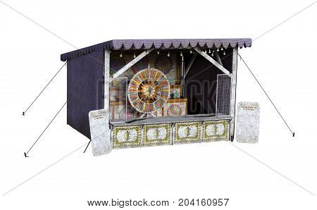 3D Rendering Carnival Shooting Gallery On White