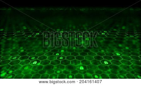 Blockchain network concept. Distributed ledger technology. Locks are located in Hexagonal cells on black background. 3d rendering illustration. Big data node base concept.