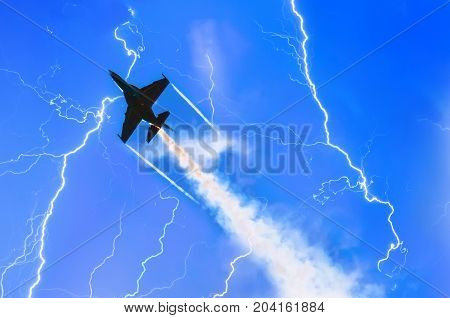 Combat Fighter Jet Against The Sky With Lightning Thunderstorms At Night