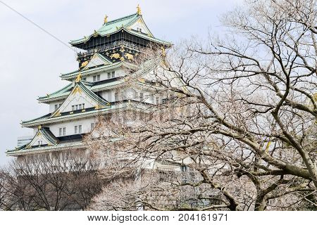 OSAKA - JAPAN - MARCH 2, 2015 : Osaka Castle in Osaka city Japan