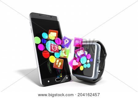 Creative Mobile Connectivity And Business Mobility Wireless Communication Concept Smart Watch Or Clo