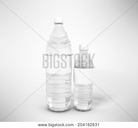 Big And Small Plastic Bottle Concept 3D Render On Gray Background