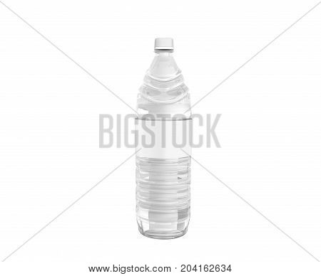 Bottle Of Plastic White With Water 3D Render On White Background No Shadow