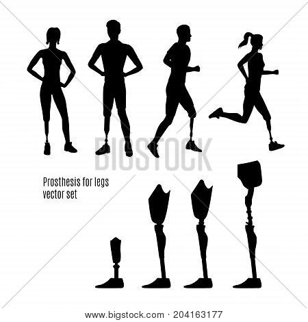 Prosthesis for legs vector set of silhouettes. Black icons and signs. Profiles of man and woman. Running man and woman with prosthesis.