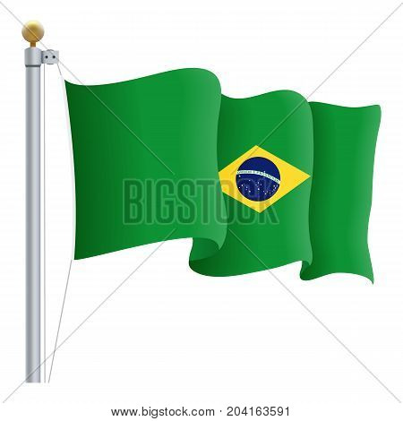 Waving Brasil Flag Isolated On A White Background. Vector Illustration. Official Colors And Proportion. Independence Day