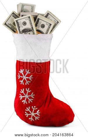 Christmas dollar sock color red white background