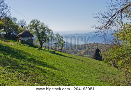 Hillsides of Miroc mountain over Danube river and Djerdap gorge and national park in east Serbia