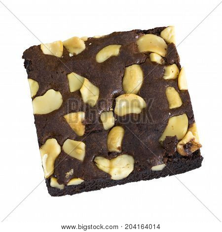 Chocolate brownies cake isolated on white background. This has clipping path.