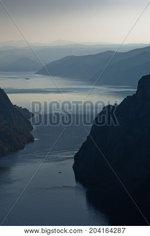 Danube river from the top of Djerdap gorge at narrowest place called Kazan, Djerdap national park, Serbia