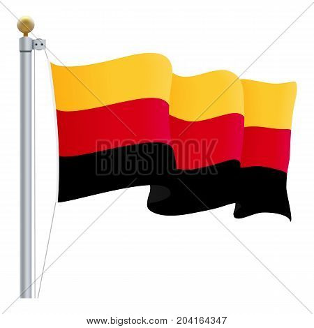 Waving Germany Flag Isolated On A White Background. Vector Illustration. Official Colors And Proportion. Independence Day