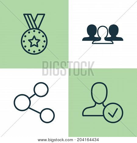 Network Icons Set. Collection Of Publication, Confirm, Medal And Other Elements