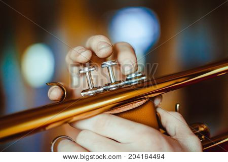 trumpeter plays the trumpet at home musician