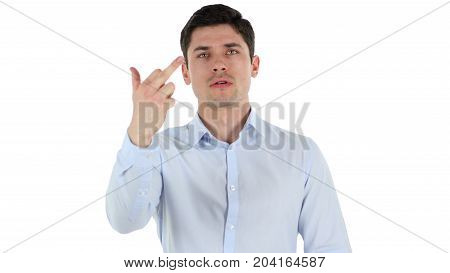 Showing Middle Finger, Anger Outburst Isolated On White Background