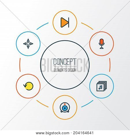 Music Colorful Outline Icons Set. Collection Of Karaoke, Refresh, Finish And Other Elements