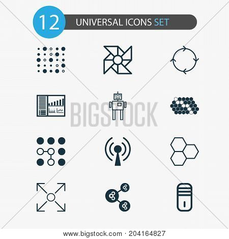 Learning Icons Set. Collection Of Branching Program, Recurring Program, Radio Waves And Other Elements