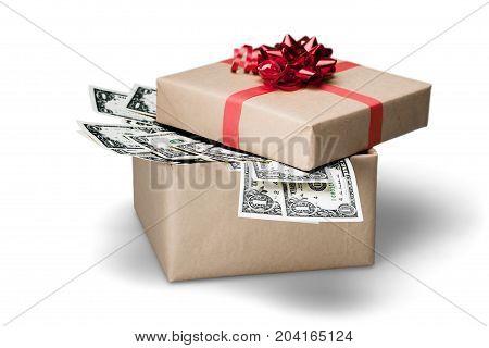Gift box bank dollars banknote green red