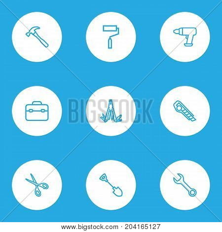 Handtools Outline Icons Set. Collection Of Shears, Multifunctional Pocket, Spanner And Other Elements