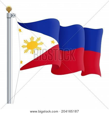 Waving Philippines Flag Isolated On A White Background. Vector Illustration. Official Colors And Proportion. Independence Day