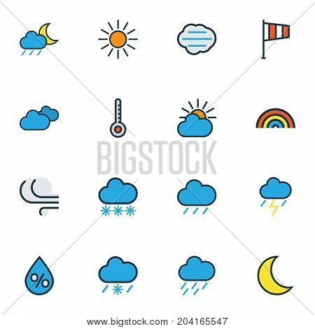 Air Colorful Outline Icons Set. Collection Of Tempest, Sunshine, Clouded And Other Elements
