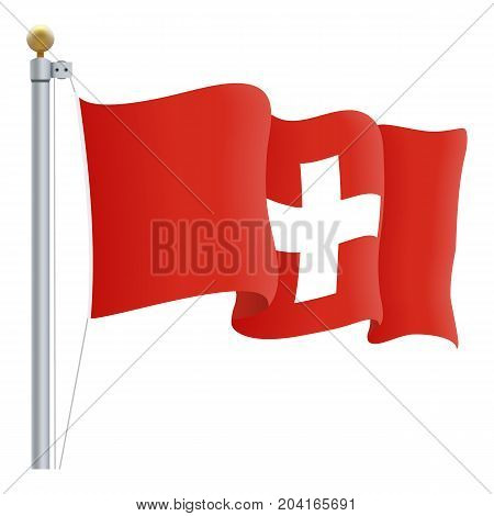 Waving Switzerland Flag Isolated On A White Background. Vector Illustration. Official Colors And Proportion. Independence Day