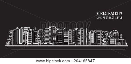 Cityscape Building Line art Vector Illustration design - Fortaleza city