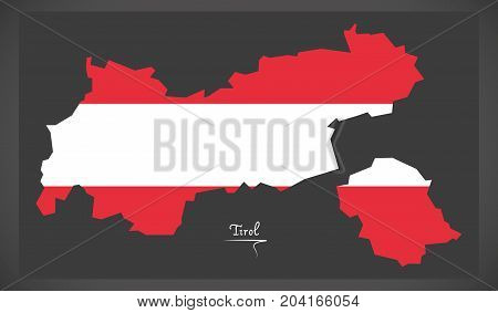 Tirol Map Of Austria With Austrian National Flag Illustration
