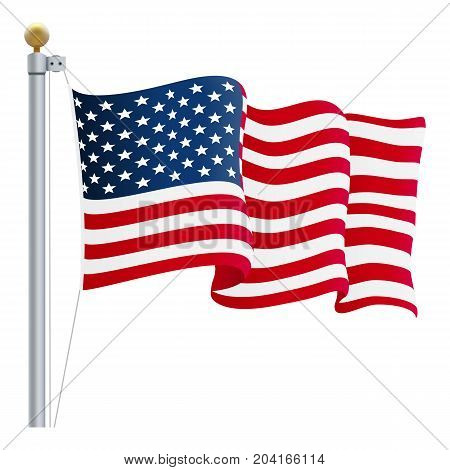 Waving United States of America Flag. UK Flag Isolated On A White Background. Vector Illustration. Official Colors And Proportion. Independence Day