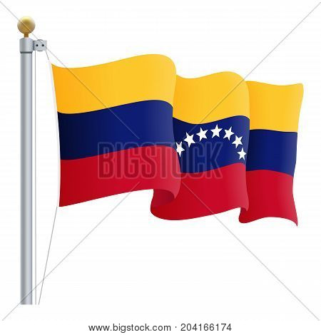 Waving Venezuela Flag Isolated On A White Background. Vector Illustration. Official Colors And Proportion. Independence Day