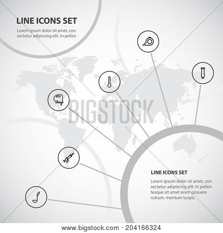 Set Of 6 Editable Apparatus Outline Icons. Includes Symbols Such As Tablespoon, Sealant, Saw And More