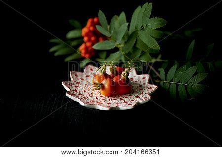 Useful antioxidant rosehip and lying on a platter on a dark background. Framed by the ash. Healthy eating during deficiency