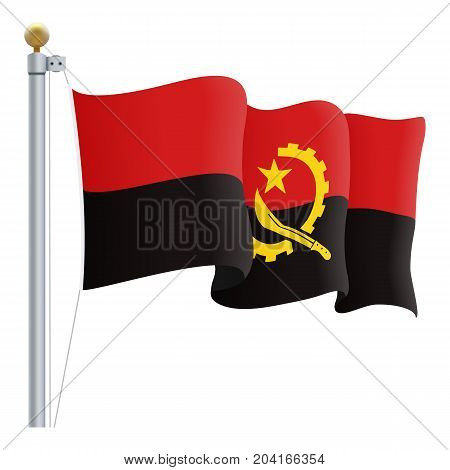 Waving Angola Flag Isolated On A White Background. Vector Illustration. Official Colors And Proportion. Independence Day